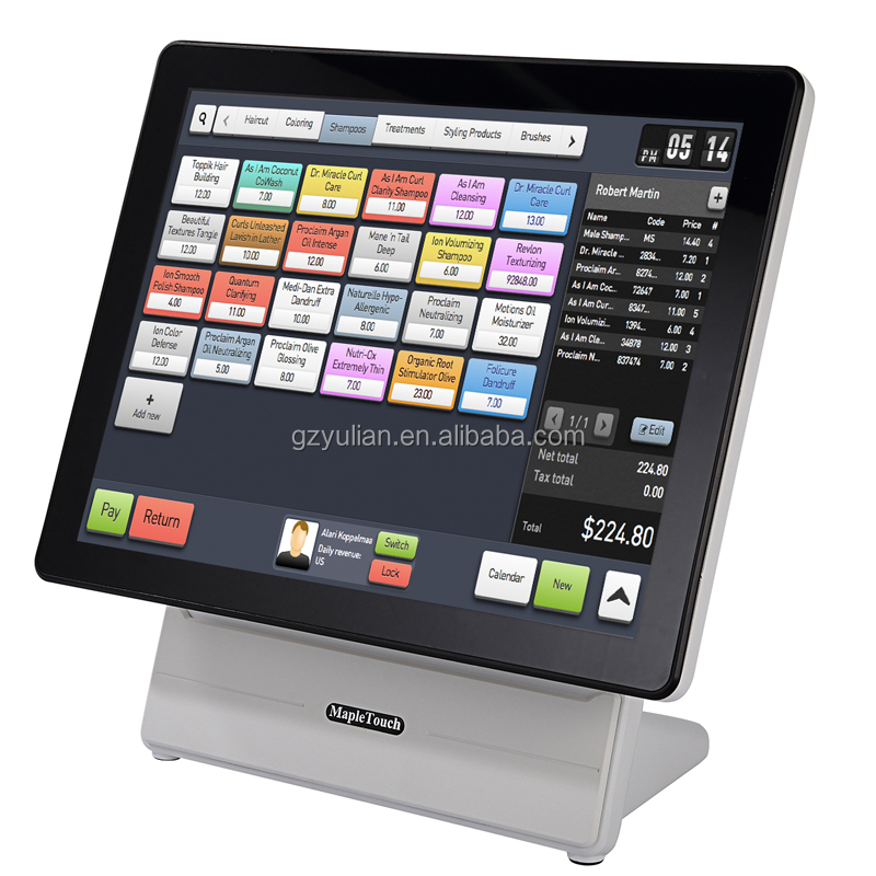 "White POS 15"" for payment system retails bars touch screens capacitive all in one"