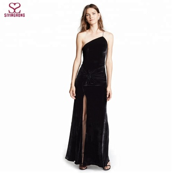 265b8e7d69dc66 Ladies Elegant Black Cocktail Long Gown Velvet Gown One-shoulder Maxi dress