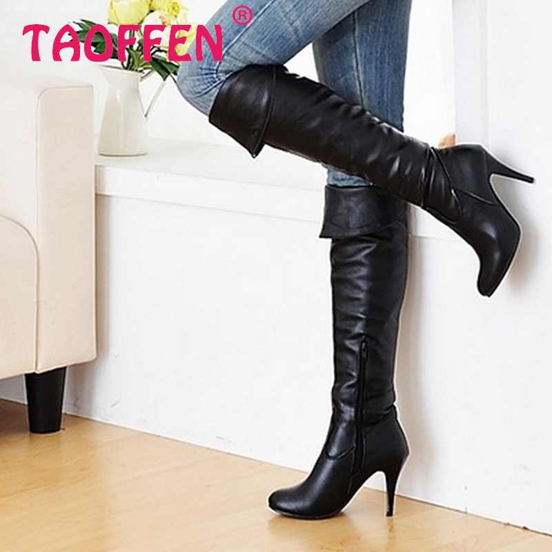 Size 34 47 Women High Heel Over Knee Boots Fashion Snow Long Boot Warm Winter Brand
