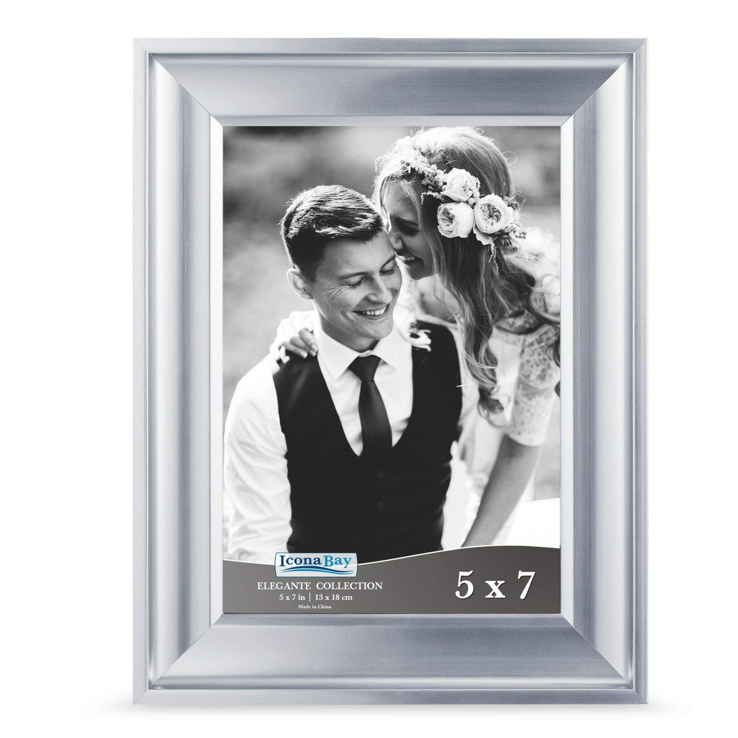 Icona Bay 5 by 7 Picture Frame (5x7, 1 Pack, Silver) Photo Frame, Wall Mount Hangers and Black Velvet Back, Table Top Easel, Landscape as 7x5 Picture Frame or Portrait as 5x7, Elegante Collection