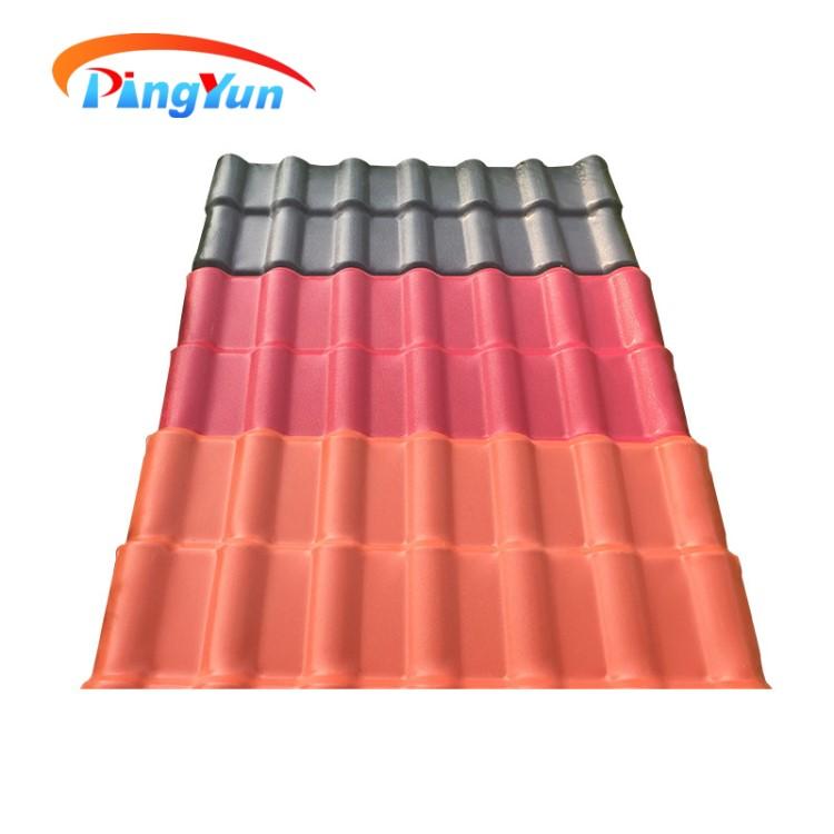 Chinesische wirtschafts asa pvc kunststoff dach fliesen für haus/gebäude materialien well asa pvc blatt/Kolumbien APVC Spanisch dachziegel