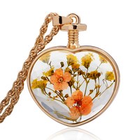 Dry Flower Wish Glass Locket Necklace Pendant Terrarium Necklace