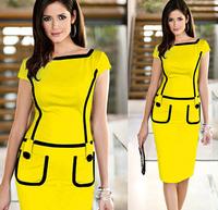 S62581A New Women Office Dress Clothes Knee-length Bodycon Slim Pencil Dress