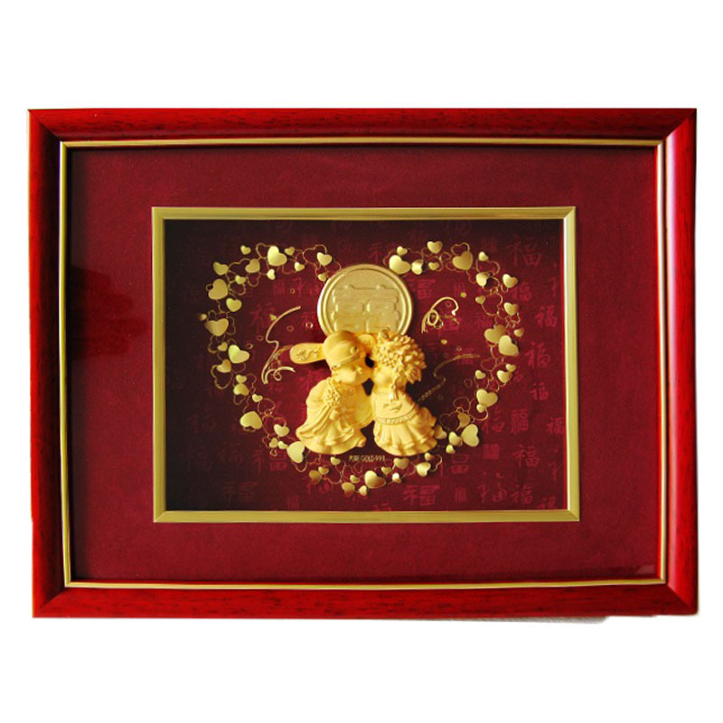 24k Gold Foil Chinese Arts Happy Wedding Couple Handmade 3d ...