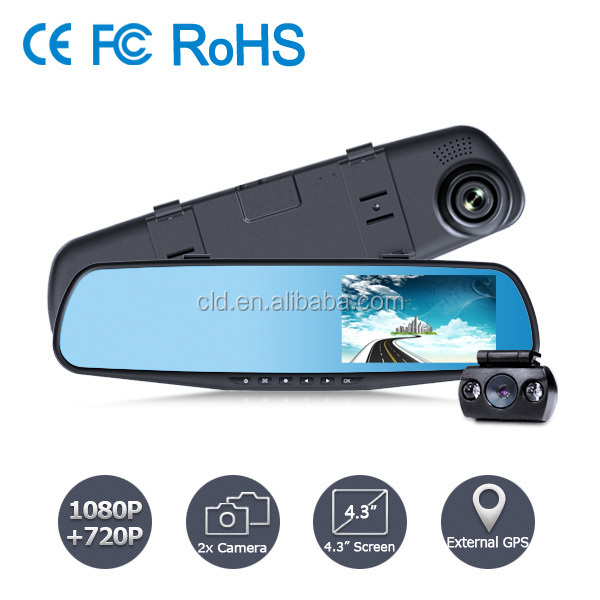 Promotion Rear view Mirror H.264 Gps Car Camera dvr recording