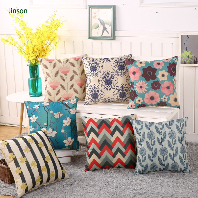 2017 Hot Selling Custom Geometric And Floral Design Printed Cushion Cover Throw Pillow Cover