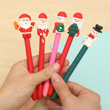 Personalized polymer clay Christmas snowman santa claus candy cane pen