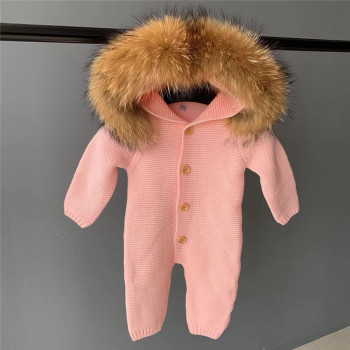 Customize Hooded Baby Boy Girl Winter Coat Rompers Clothing Wholesale Outwear Cute Knitted Baby Kids Winter Rompers Baby Clothes