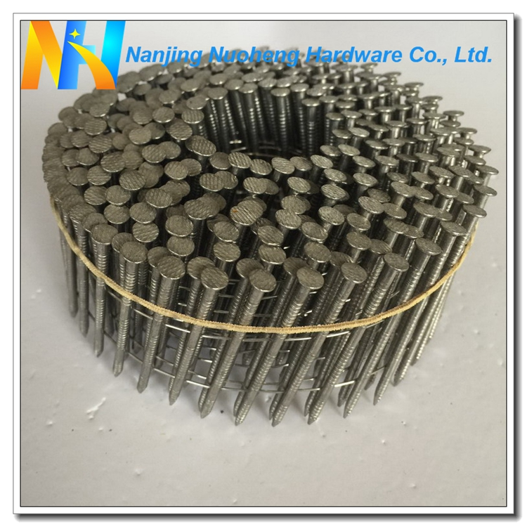 "15/16 Degree Ring Shank Stainless Steel Wire Coil Nail 2.3*50/0.092""*2"""