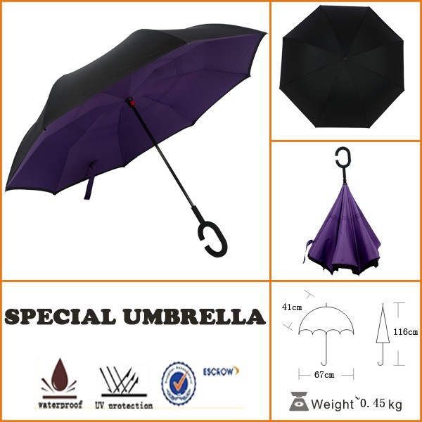 car sunshade double fabric reverse umbrella with photo print