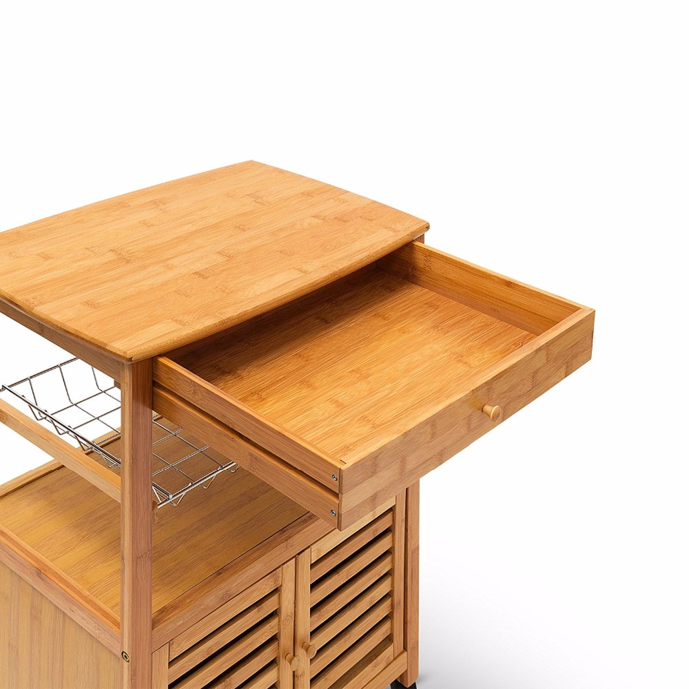 Bamboo wooden  trolley cart cabinet storage trolley with wheels kitchen furniture 5