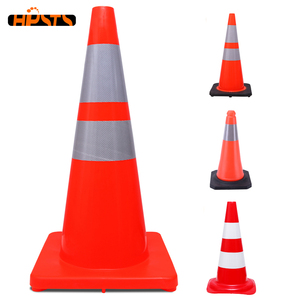 No MOQ free sample 28 inch road reflective plastic safety flexible black rubber base orange pvc traffic cone