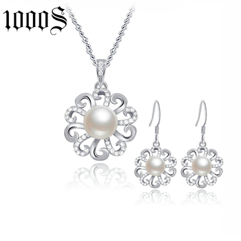 fashion 925 sterling silver freshwater pearl flower jewelry set