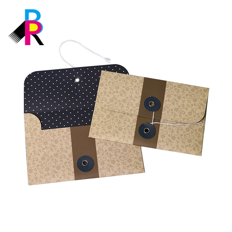 Wholesale Luxury Custom Gift Card Packaging Paper Printed Envelope With String Closure