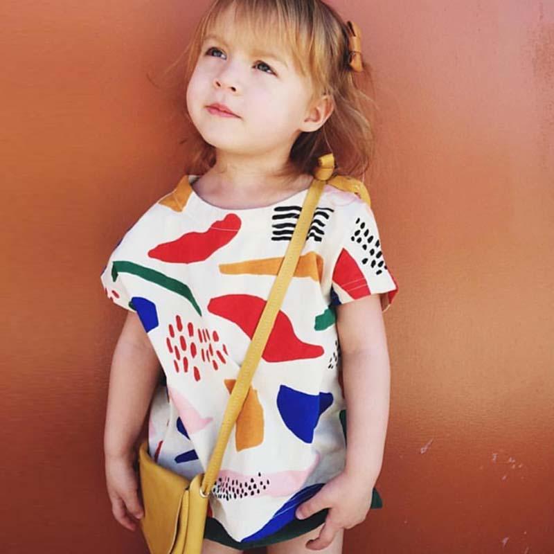 BBK bobo choses 2016 New cotton Short Clothes graffiti print T shirt boy clothes Fashion Shirts