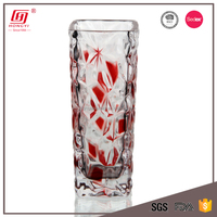 Wholesale red color big tall square glass flower vase for wedding