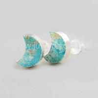 925 sterling sivler earring back moon shape stud turquoise earrings