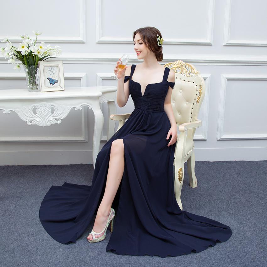 ab081bc6d78c5 100% Real photos Navy Blue Chiffon Prom Dresses 2018 Vestidos de Noiva  Latest Design Strapless