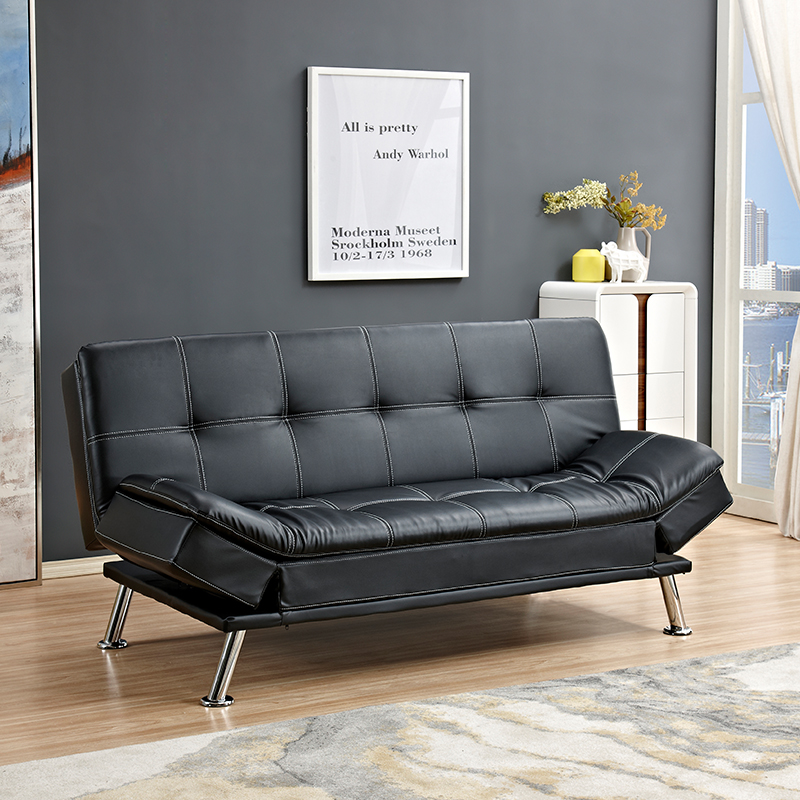 High Quality Big Size Black PU Sofa Futon Bed Leather Look Sofa Bed