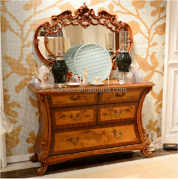 Bisini Luxury Furniture, French Classical Antique Wooden Dressing Table And  Mirror
