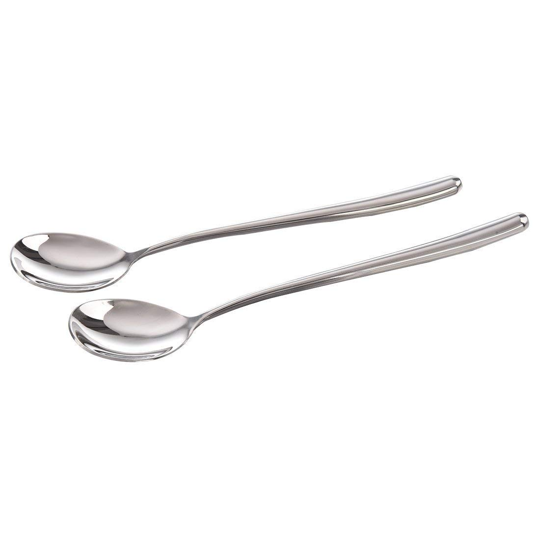 TOOGOO(R) Good Quality Stainless Steel Rice Spoon/Soup Spoon , Long-handled Great Circle Coffee Spoon (2pcs)