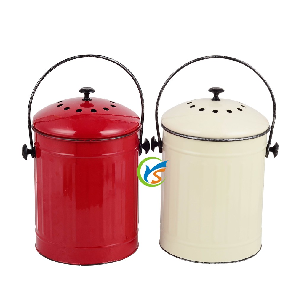 Charming Hot Sale Kitchen Metal Compost Bin Of Waste Container