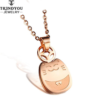 Wholesale Bring Lucky And Happy Cute Cat Rose Gold Titanium Steel Necklace Valentine Day For Boyfriend,BYGIFT