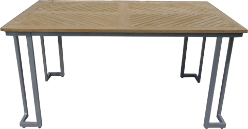 Powder Coated Aluminum Outdoor Furniture Sling Table With Teak Table Top