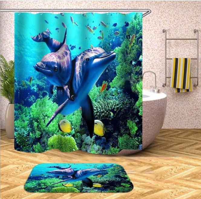 Unterwasser DuschVorhang Delfine Schiff Meer Gardinen mit Digitaldruck