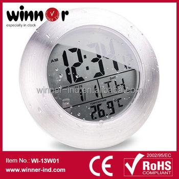 Grand Nombre LCD Numérique Ventouses Étanche Horloge, Horloge De Salle De  Bain