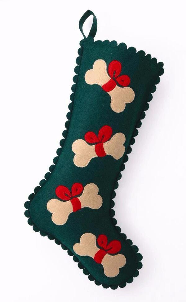 Handmade Green Felt Dog Bones Christmas Stocking New For