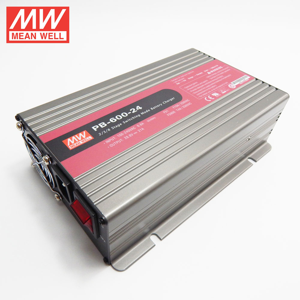 Original MEANWELL 120W to 1000W UL CE CB TUV 27.6v output 24v battery charger 600W PB-600-24