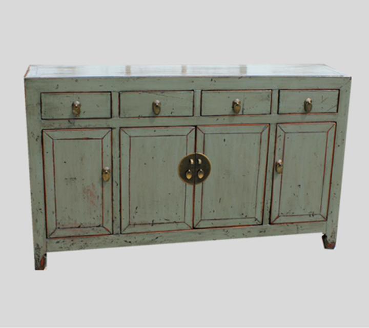 Chinese Antique Asian Recycle Wood Painted Four Drawer Four Door