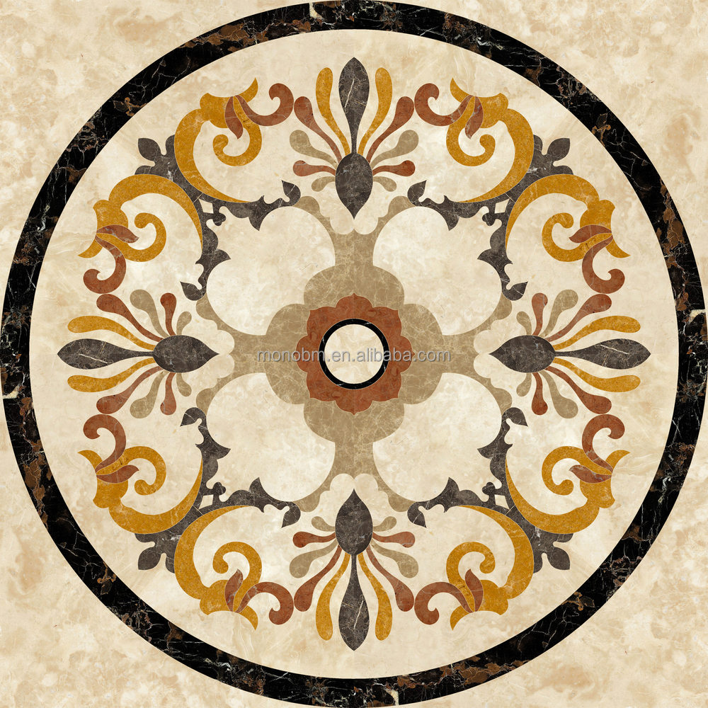 2017 hot sale round water jet floor marble medallions for Wood floor medallions inlay designs