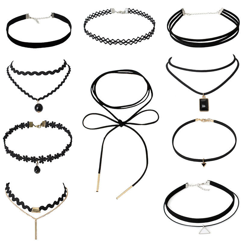 2017 Modyle Best Deal New Fashion 6 8 10 Pieces Women Black Rope Choker Necklace Set Classic Gothic Lace Choker Chain necklace
