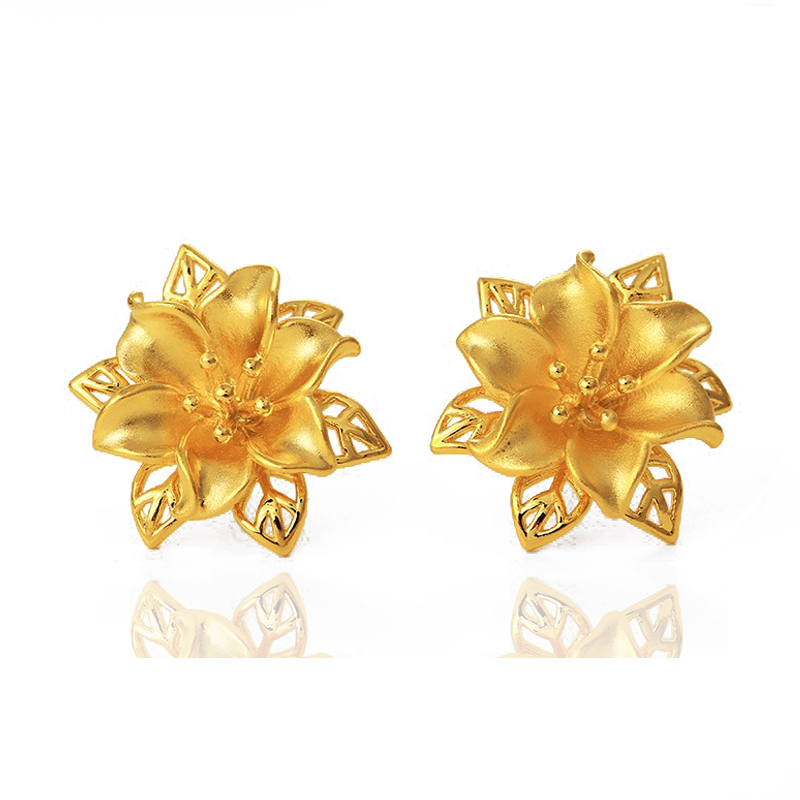 joyeria Xuping <strong>gold</strong> 24K innovative <strong>flower</strong> stud <strong>earrings</strong> for women