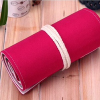 The Large Capacity 72 Holes School Stationery Rose Red Canvas Pencil Case