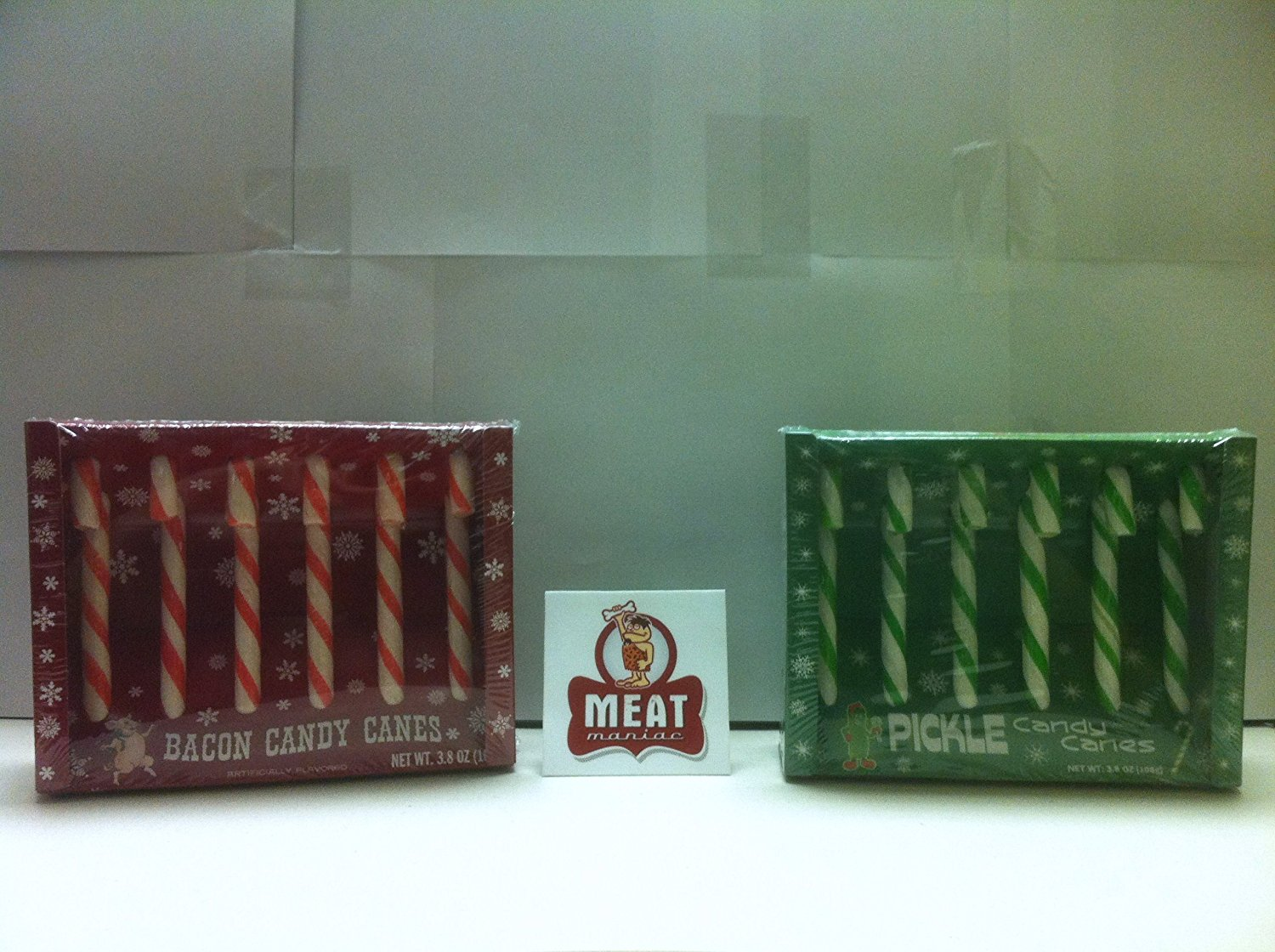 MEAT MANIAC Exotic Candy Canes Combo Gift Pack with Sticker- Bacon Candy Canes & Pickle Candy Canes