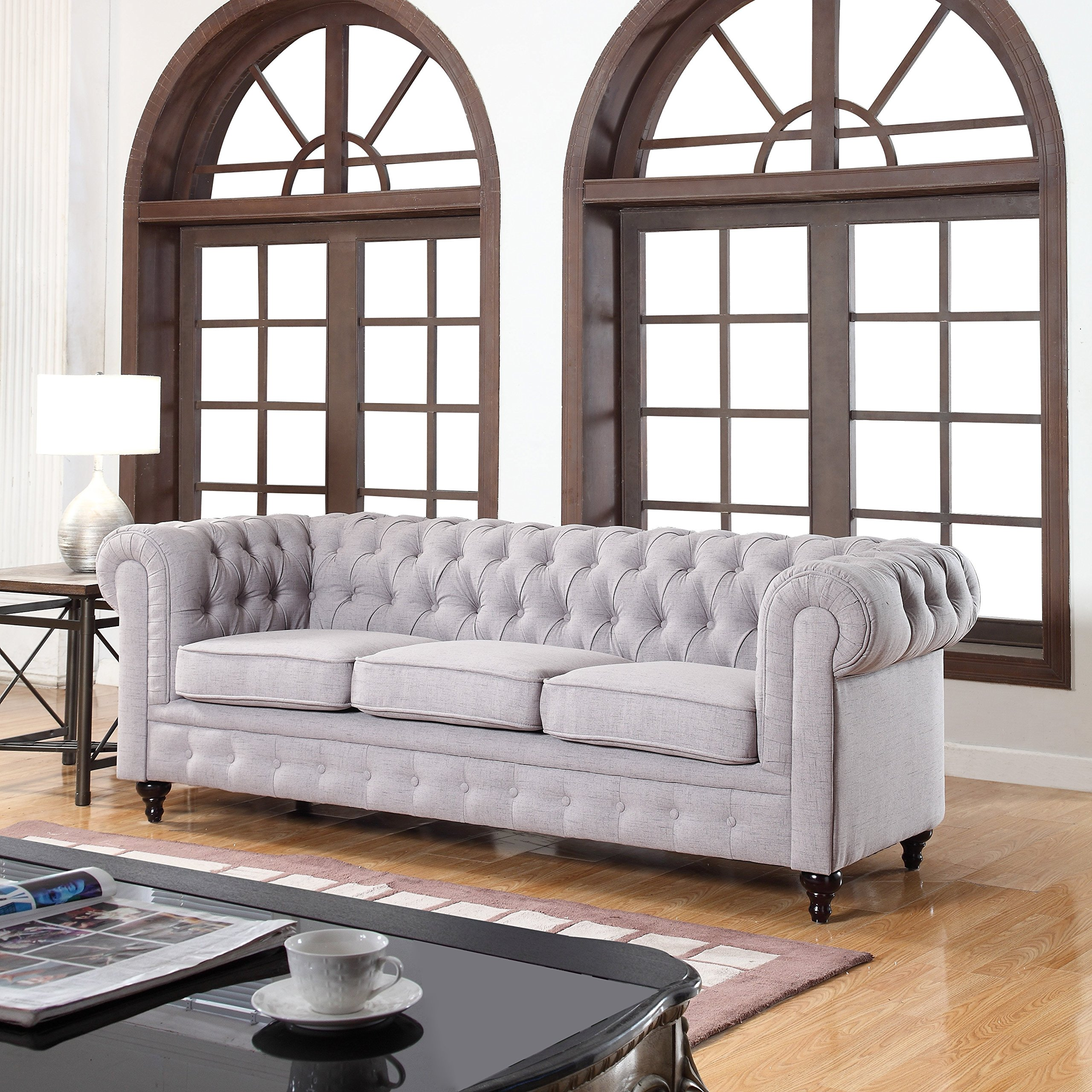 Classic Linen Fabric Scroll Arm Tufted Button Chesterfield Style Sofa (Stone)