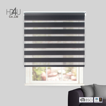 Heavy duty zebra blind 38mm headrail with cilck in bracket double roller blind