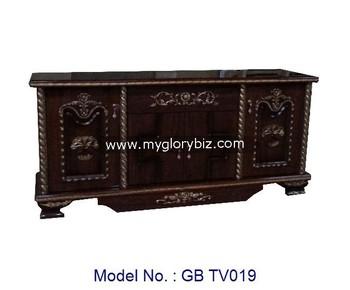 Indische stijl zwarte tv kast voor meubelen hoek tv stand l