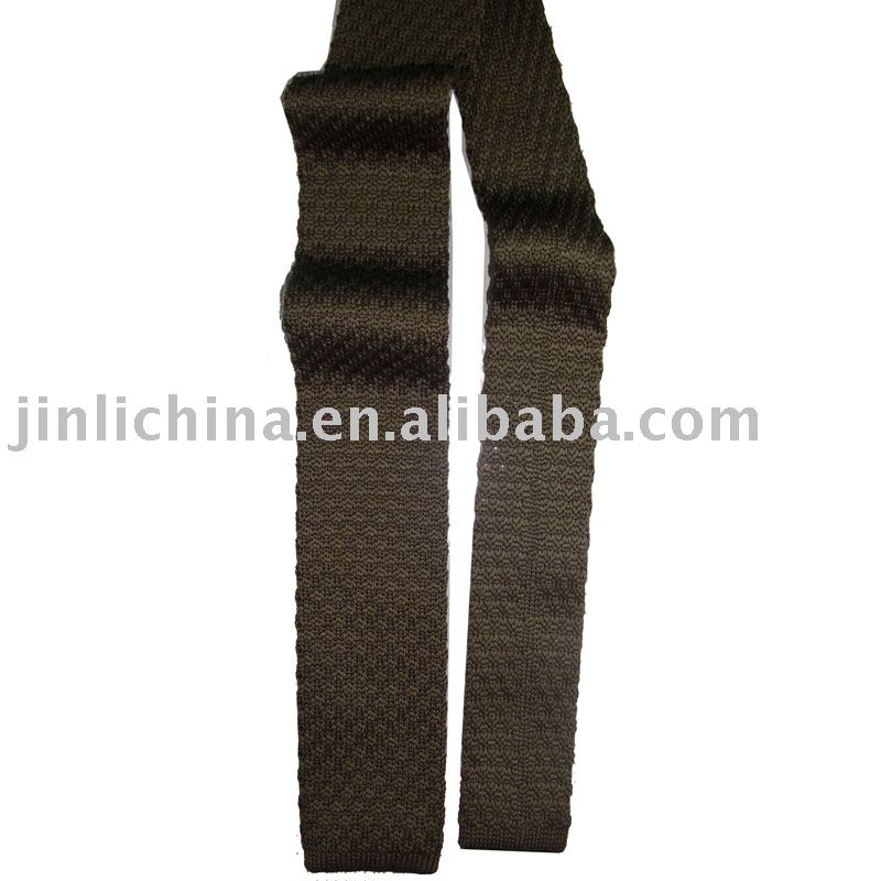 Brown solid polyester knit tie
