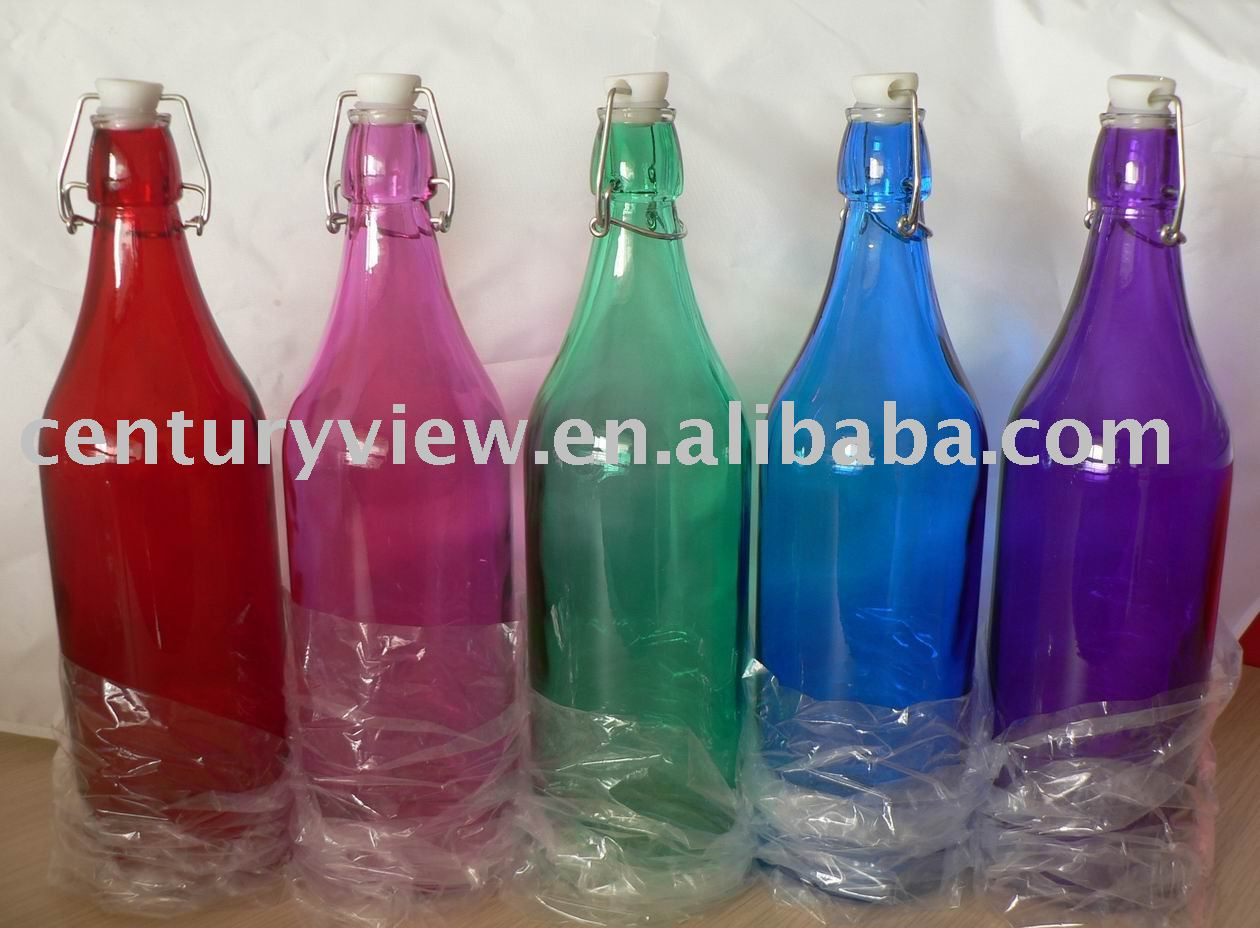 Spray Colored 1l Swing Top Metal Clip Water Glass Bottle