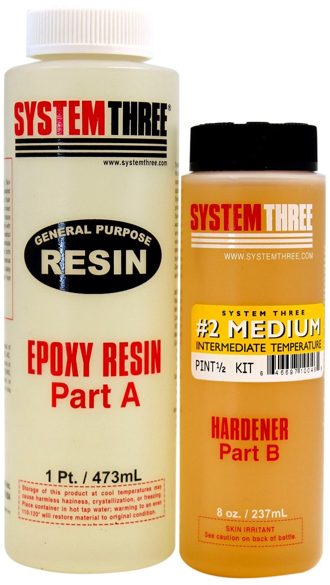 System Three 0102K40 General Purpose Epoxy Kit with #2 Medium Hardener, 1.5 Pints, Medium Amber