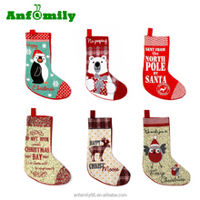Personalised Embroidered Christmas Stocking Sack Filler Santa Hanging Decoration