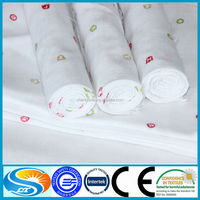 eco-friendly organic cotton printed/white muslin gauze fabric cloth for baby muslin swaddle blanket