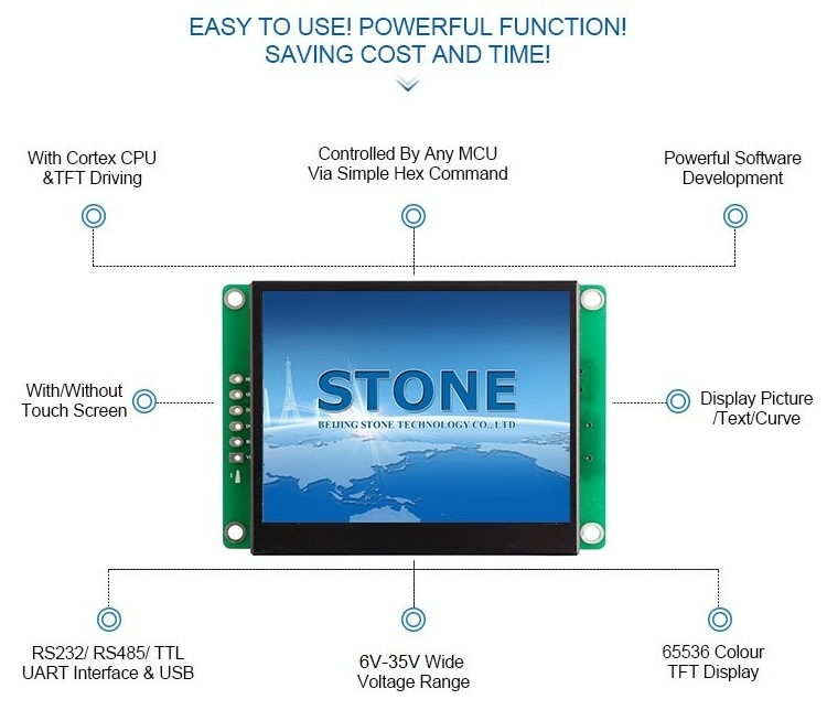 STONE 4.3 inch Intelligent TFT LCD Monitor with Touch Screen + Controller Support Any MCU/ PIC