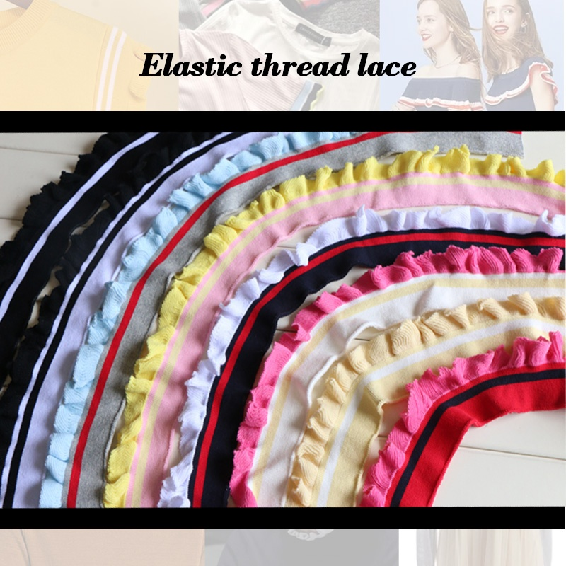Rib Elastic Thread Lace Cotton Spandex Blend Fabric for T-shirts and Thin Coat