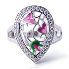 Joacii Newest 925 Silver China Jewelry enamel craft CZ Jewelry Ring with 18K Gold Plated