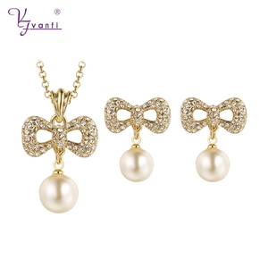 hot sale latest gold chain fashion trendy cute bowknot imitation pearl jewelry set